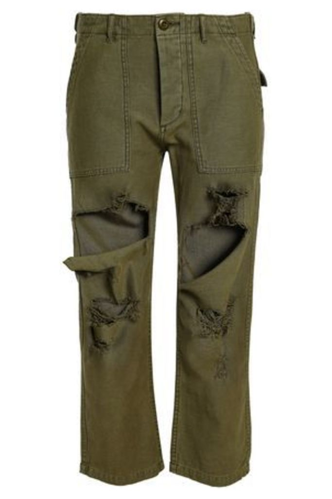R13 Woman Distressed Cotton Straight-leg Pants Army Green Size 31