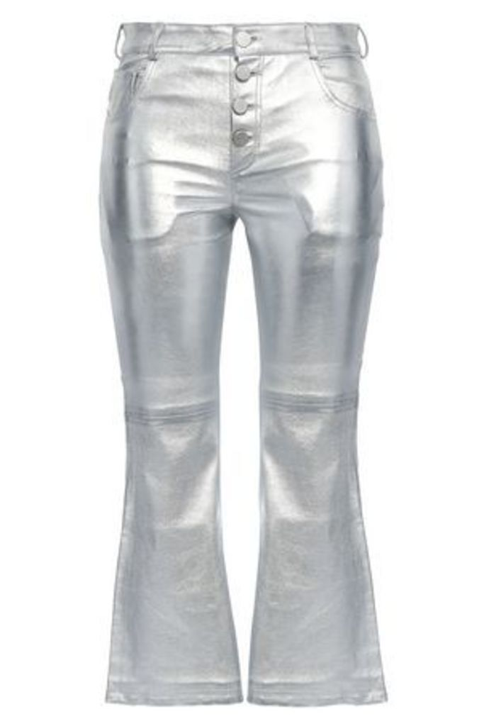 Each X Other Woman Coated Metallic Leather Bootcut Pants Silver Size L