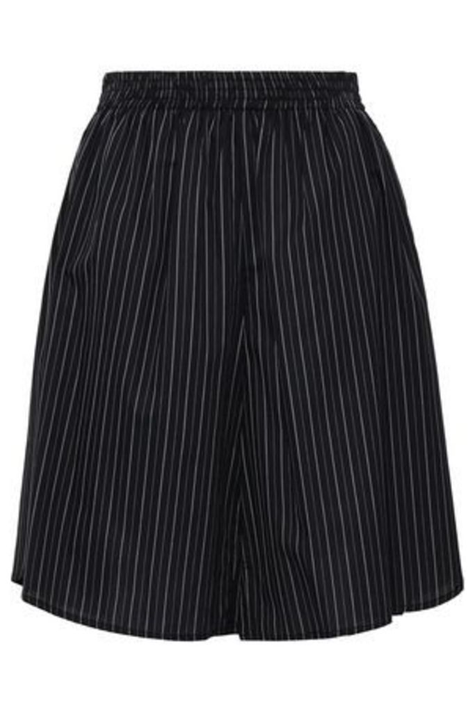 Mm6 Maison Margiela Woman Gathered Pinstriped Cotton Shorts Black Size 46