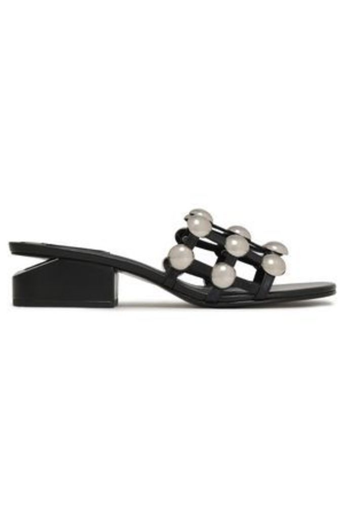 Alexander Wang Woman Studded Leather Mules Black Size 38.5
