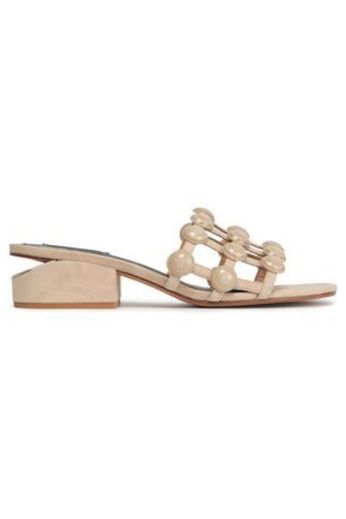Alexander Wang Woman Studded Suede Mules Beige Size 39