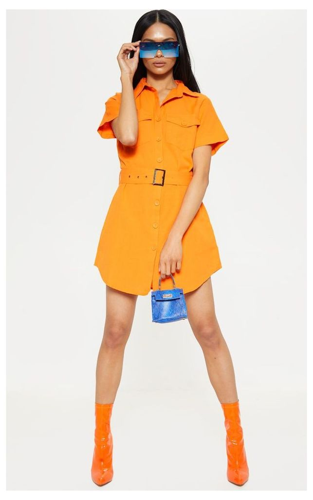 Bright Orange Cargo Pocket Button Shirt Dress, Bright Orange