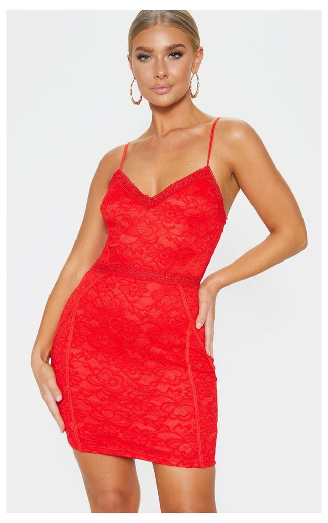 Red Lace Embroidered Trim Bodycon Dress, Red