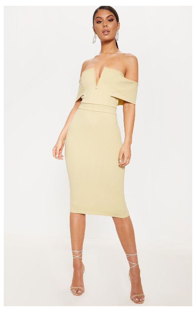 Sage Green Plunge Bardot Midi Dress, Sage Green