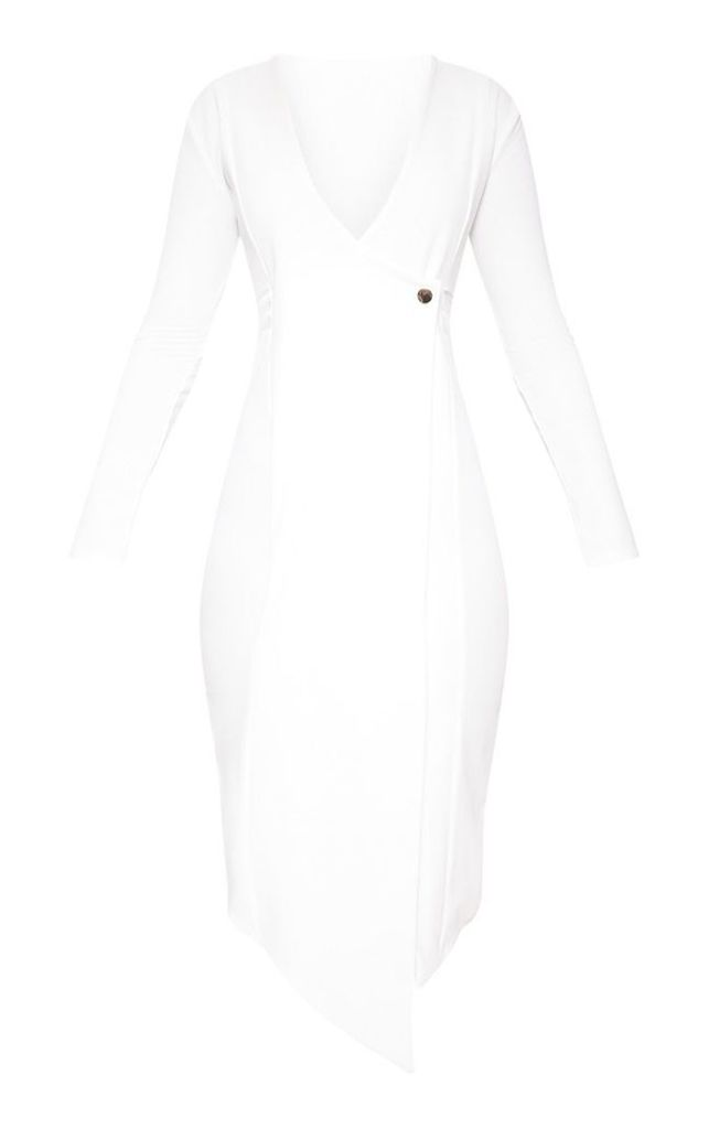 White Long Sleeve Button Detail Blazer Dress, White