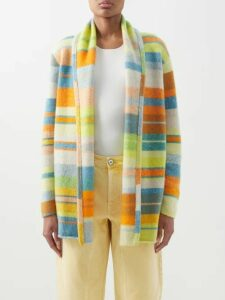 The Elder Statesman - Raya Striped Knitted Silk Dress - Womens - Blue Multi