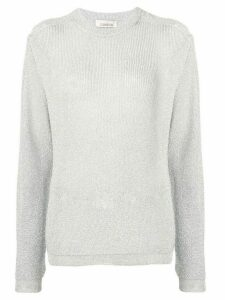 Laneus sheer glitter knit sweater - Silver
