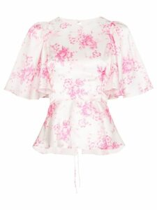 Les Rêveries frill sleeve floral print silk blouse - White