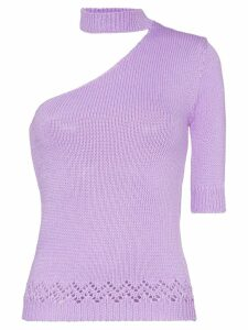 Les Rêveries one-shouldered knitted mock neck T-shirt - PURPLE