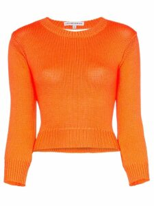 Les Rêveries backless long-sleeved knitted crop top - ORANGE