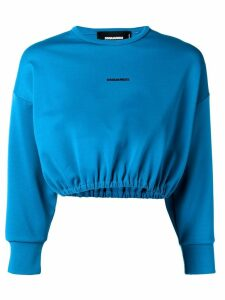 Dsquared2 logo print cropped sweater - Blue