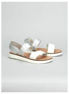 Extra Wide Fit Silver Elastic Sporty Sandals, Silver