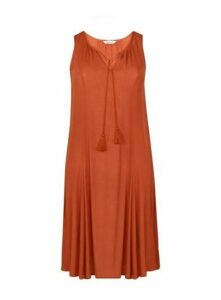 Rust Sleeveless Tassel Detail Midi Dress, Rust