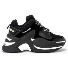 Naked Wolfe  Track black leather and suede sneaker  women's Shoes (Trainers) in Black