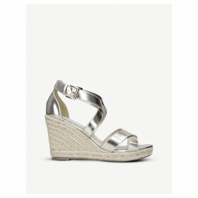 Smashing metallic faux-leather sandals