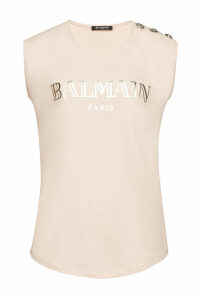 Balmain Cotton Tank with Embossed Buttons