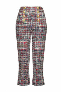 Balmain Tweed Pants with Embossed Buttons