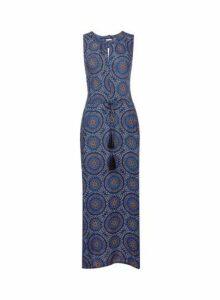 Womens **Billie & Blossom Multi Colour Asymmetric Maxi Dress- Blue, Blue