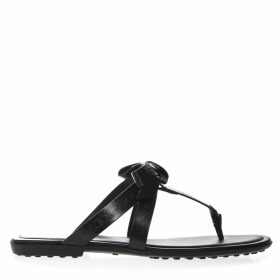 Tods Black Logo Leather Flip Flop Sandal