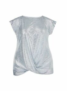 Womens **Dp Curve Silver Foil Twist Hem Top, Silver
