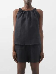 Erdem - Lilia Floral Print Taffeta Blouse - Womens - Blue Multi