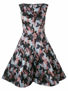 Talbot Runhof jacquard camouflage pattern dress - Blue