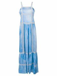 Wandering lace trim maxi dress - Blue