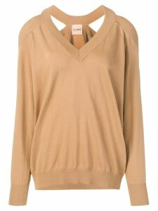 Nude cold shoulder jumper - Brown