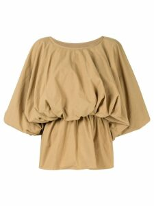 Goen.J puff-sleeve blouse - Brown