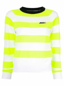 MSGM striped knitted logo jumper - Green