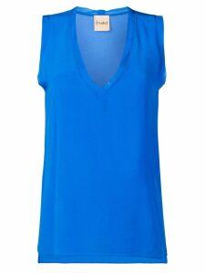 Nude v-neck top - Blue