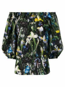 Alexander McQueen floral print bardot blouse - Black