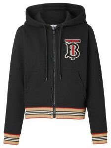Burberry Icon Stripe zip-front hoodie - Black