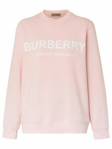 Burberry Logo Print Cotton Sweatshirt - Pink