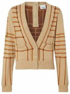 Burberry Rope Silk Wool Jacquard V-neck Cardigan - NEUTRALS