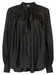 Rosie Assoulin Beading long-sleeved tie neck blouse - Black