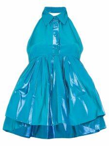 Rosie Assoulin sleeveless peplum silk cotton blend top - Blue