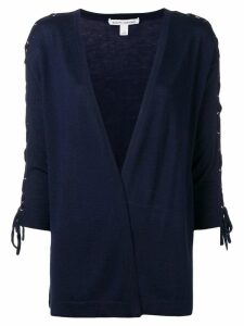 Autumn Cashmere lace-up sleeve cardigan - Blue