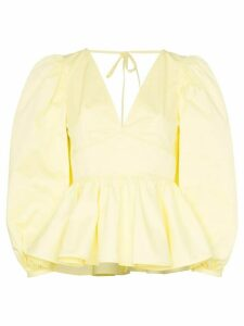 Staud V-neck peplum hem stretch-cotton blouse - Yellow