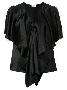 LANVIN draped V-neck blouse - Black