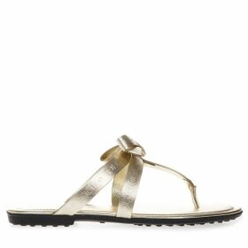 Tods Laminate Gold Leather Logo Flip Flop Sandal