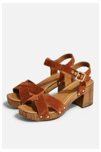 Womens Veronica Tan Leather Clog Sandals - Tan, Tan