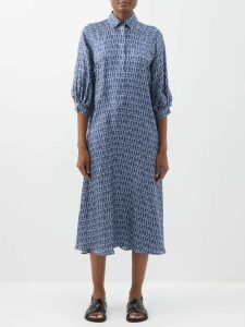 Su Paris - Mayunga Puff Sleeve Cotton Dress - Womens - Blue