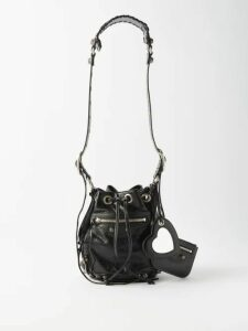 Loewe - Frayed V-neck Satin Blouse - Womens - Light Blue