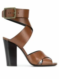 Saint Laurent crossover strap sandals - Brown