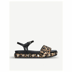 Ripple leopard-print satin and faux-leather sandals