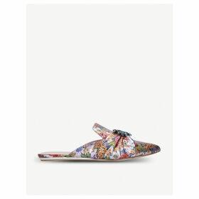 Oona crystal-embellished floral flat mules