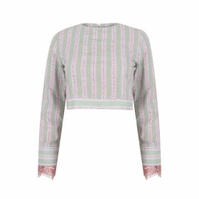 Olivia Annabelle - Key To My Castle Quotation Cropped Blouse