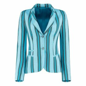 KOY Clothing - Blue Striped Ladies Tailored Sporting Jacket