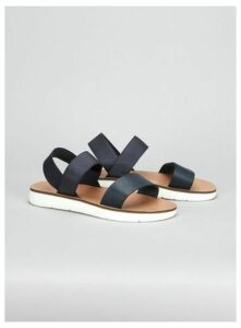 Extra Wide Fit Navy Blue Elastic Sporty Sandals, Navy